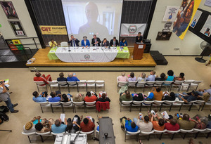 All nine mayoral candidates field questions from the Syracuse community at an open forum held last month.